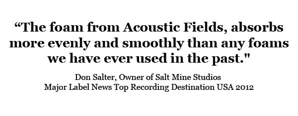 Acoustic Foam Testimonial Saltmine Studios