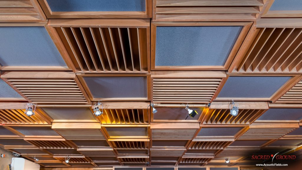 Quadratic Diffusion on ceiling for sound diffusion in small rooms